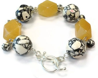 Yellow Jade Bracelet Sterling Silver Jewelry Mosaic Jasper Gemstone Jewellery Dangle Unique