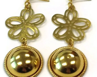 Gold Flower Earrings - Modern Jewelry - Funky Fashion Jewellery - Dangle - Unique - Summer - Everyday ER-158