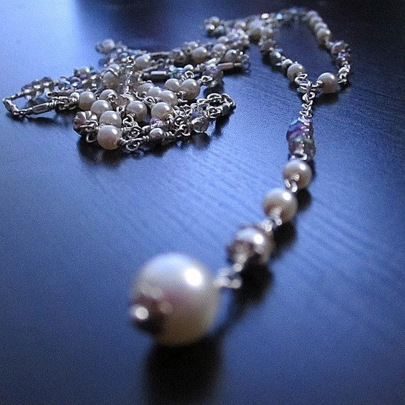 Pearl Necklace - Rosary Jewellery - Sterling Silver - Long and Layered - Bridal Jewelry