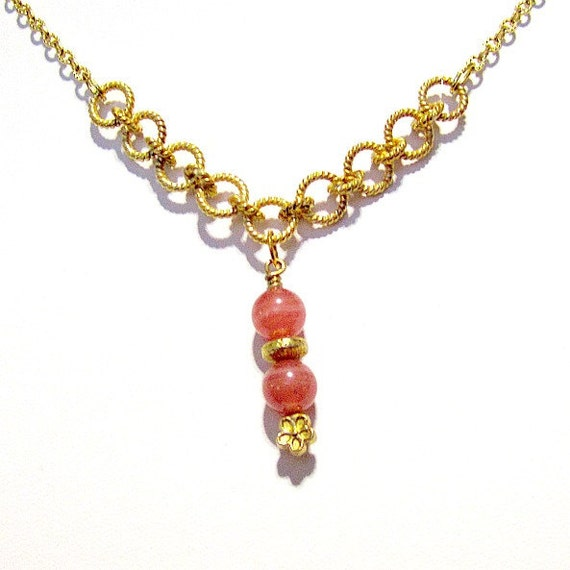 Pink Necklace - Rhodochrosite Gemstone Jewellery - Gold Jewelry - Fancy Chain - Pendant - Drop - Classic - Unique - Flower N-18
