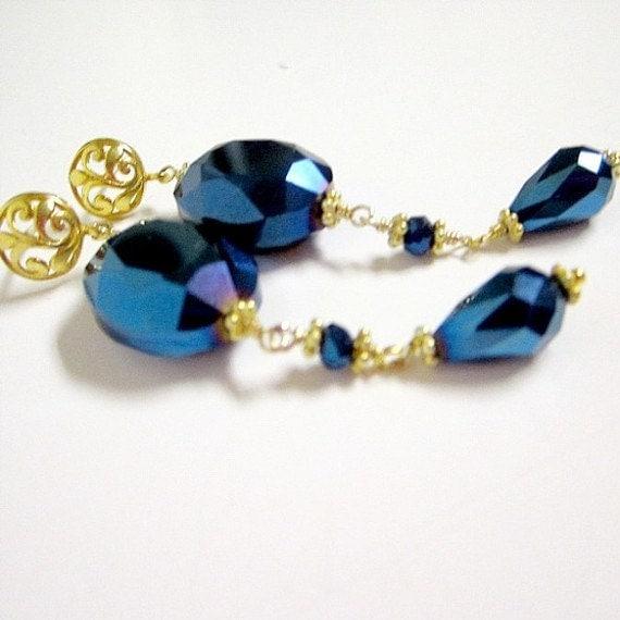 Blue Earrings - Gold Vermeil Jewelry - Metallic Crystal Jewellery - Vermeil - Mother Prom Iridescent Black Tie Dangle Filigree