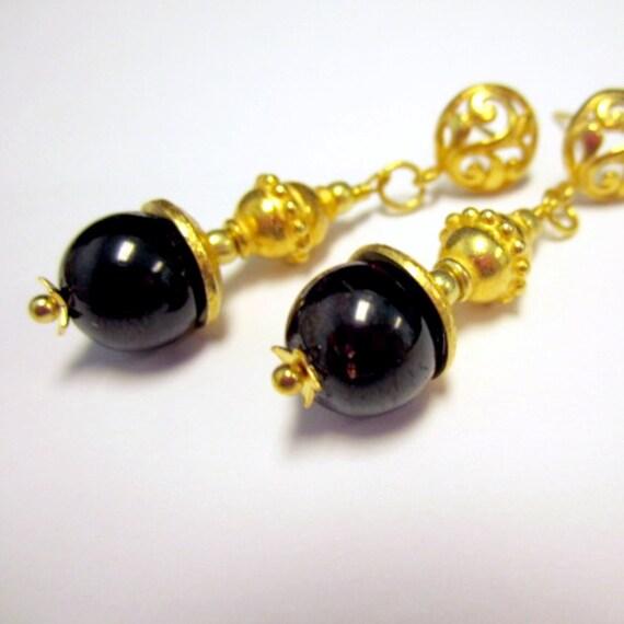 garnet earrings gemstone jewelry january birthstone