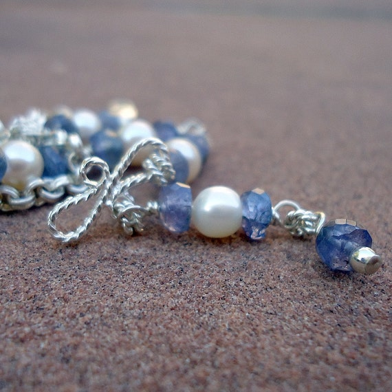 Pearl Tanzanite: Tanzanite Bracelet Pearl Bracelet December Birthstone