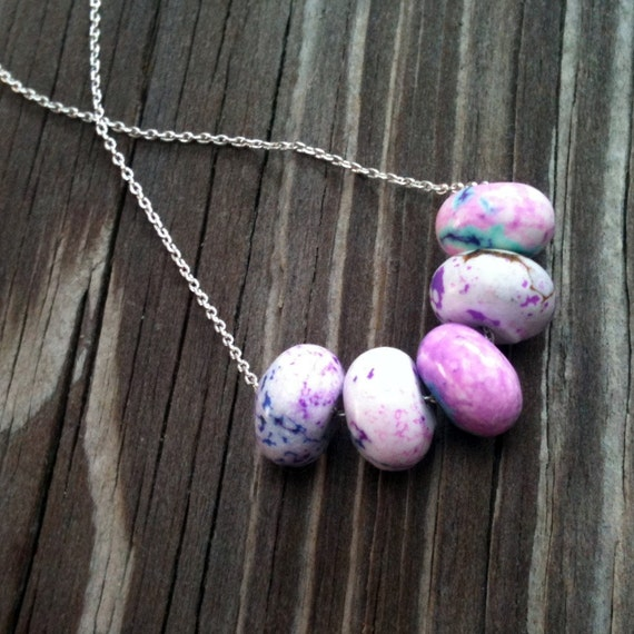 Tie Dye Necklace Sterling Silver Jewelry Fuchsia Jewellery Chain Aqua Splatter Paint Spring Fashion Bright Hipster Mod