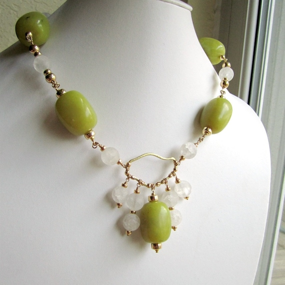 olive green necklace jade jewelry frosted white quartz