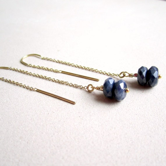 Navy Blue Earrings Sapphire Jewelry September Birthstone Yellow Gold Jewellery Chain Dangle Dainty