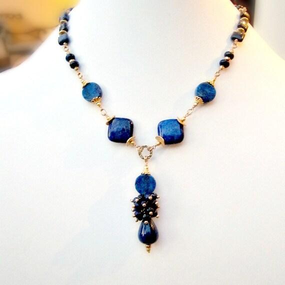 navy blue necklace lapis lazuli jewellery gold jewelry