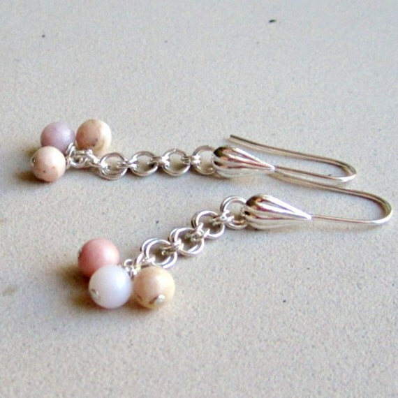 Peruvian Opal Earrings - Pink Gemstone Jewellery - October Birthstone - Sterling Silver Jewelry - 14th Wedding Anniversary - Chainmaille