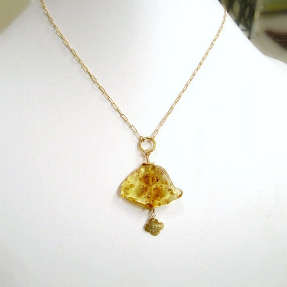 Yellow Amber Necklace Gold Jewelry November Birthstone Jewellery Slice Slab Gemstone Pendant Drop Quatrefoil Charm Unique Chain N-108