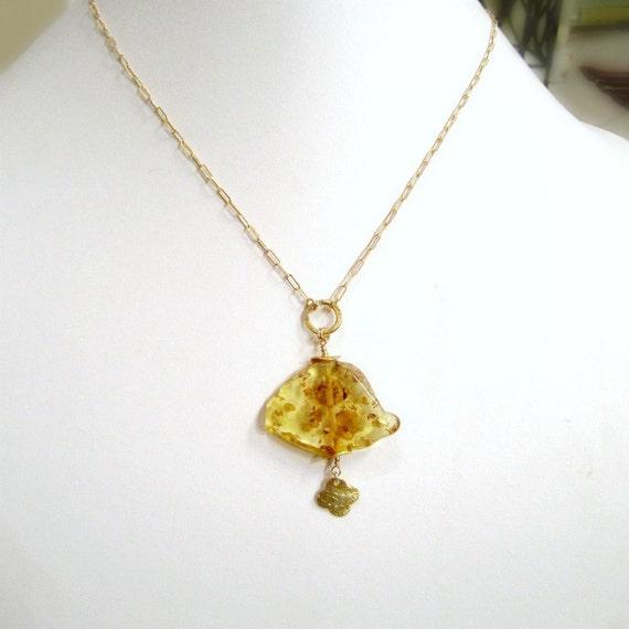 Yellow Necklace - Amber Gemstone - Gold Jewelry - November Birthstone Jewellery - Slice - Slab - Pendant - Drop - Quatrefoil  N-108