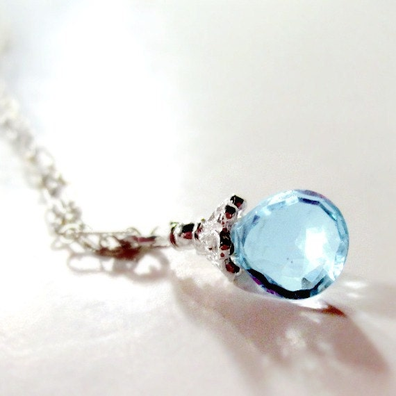 Blue Topaz Necklace Blue Topaz Pendant December Birthstone Sterling Silver Jewelry Gemstone Jewellery 4th Wedding Anniversary N-140