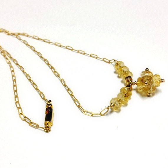 Yellow Citrine Necklace - November Birthstone Jewellery - Gold Jewelry - Yellow Gemstone - Chain Ball Pendant Drop N-196