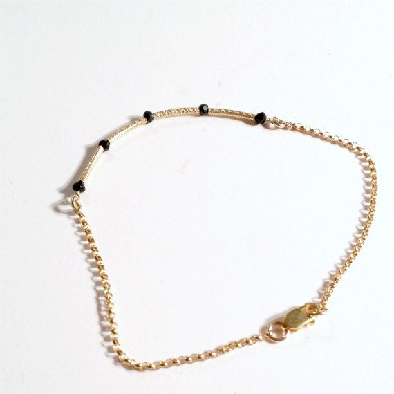 Thin Gold Chain Bracelet: Black Skinny Bracelet Bead Bar Thin Chain Spinel Gold Vermeil