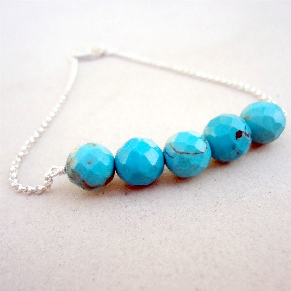 Turquoise Bracelet Bead Bar Gemstone Jewellery Sterling Silver Jewelry Faceted Chain Simple Everyday Layer Stack B-158a