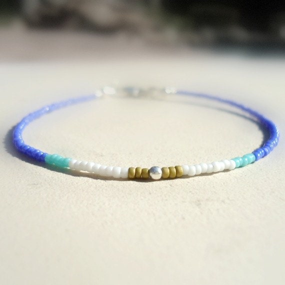 Thin Beaded Bracelet -  Blue & White Jewelry - Sterling Silver Jewellery - Layer - Stack