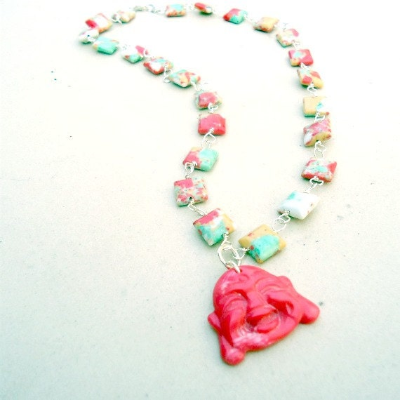 Happy Buddha Necklace Coral Necklace Sterling Silver Jewelry Tangerine Tye Dye Natural Gemstone Jewellery Good Luck Asian Oriental N-176