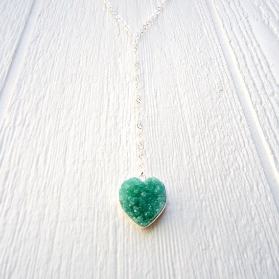 Long Druzy Necklace Sterling Silver Green Druzy Heart Pendant Long Chain Jewellery 925 Unique Handcrafted Drusy Glittery Geode N-178