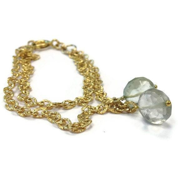 Green Bracelet - Amethyst Bracelet - Gold Jewelry - Gemstone Jewellery Everyday Simple Layered Chain