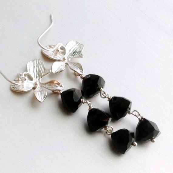 black spinel earrings black jewelry sterling silver