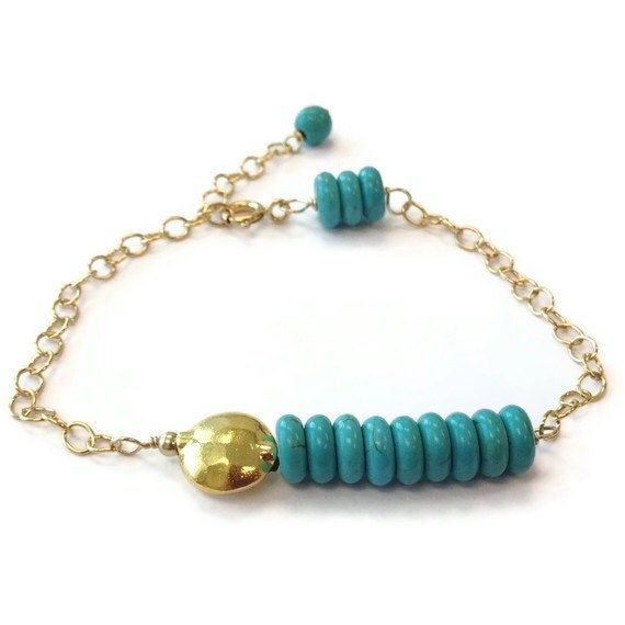 Turquoise Bracelet Turquoise Jewelry Gold Jewellery Gold Chain Fashion Everyday Bead Bar Unique B-200
