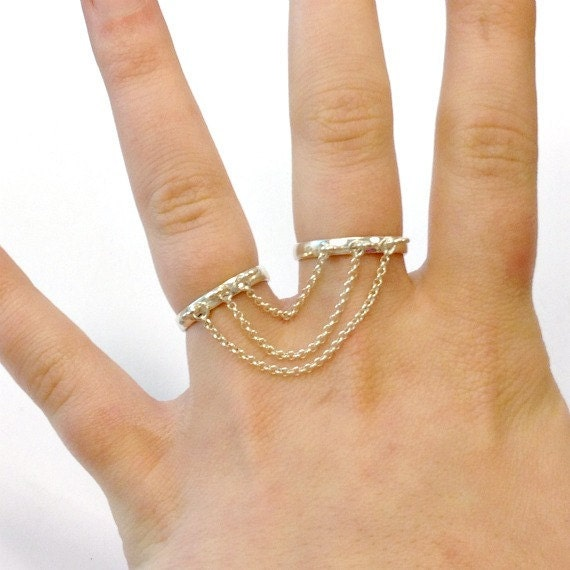 Two Finger Ring Sterling Silver Chain Link Dangle Ring Double Finger Ring Double Finger Jewelry R-TBM