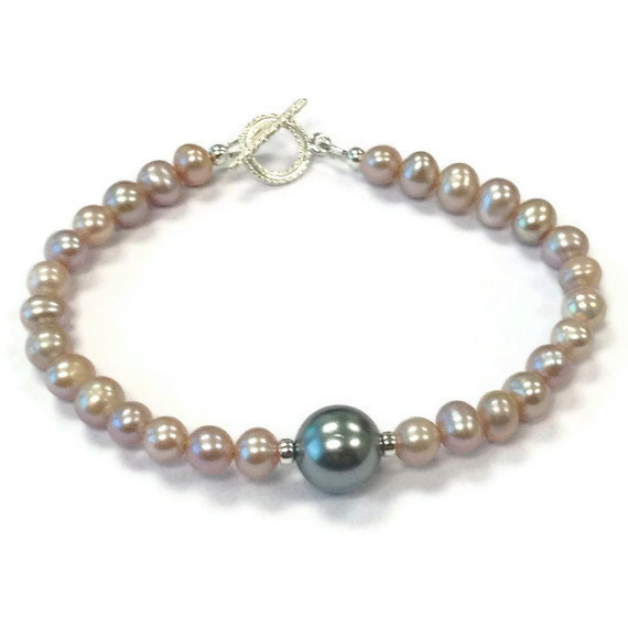 Pink and Gray Pearl Bracelet - Sterling Silver Jewelry - Grey Wedding Jewellery-  Bridesmaid Gifts - Dainty B-209