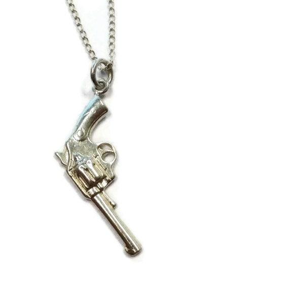 gun necklace sterling silver jewellery 925 pistol
