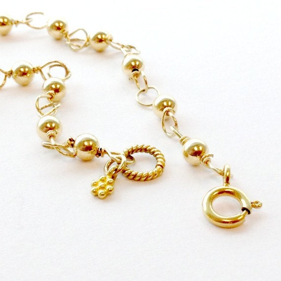 Yellow Gold Bracelet Beaded Jewelry Wire Wrapped Jewellery Flower Charm Stack Layer Dainty Feminine Graduation Gift