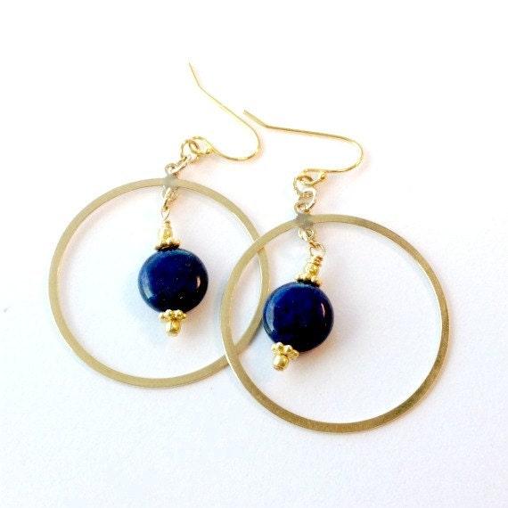 Blue Lapis Earrings Hoop Earrings Yellow Gold Gemstone Jewellery Denim Navy Jewelry Lapis Lazuli Natural  ER-137