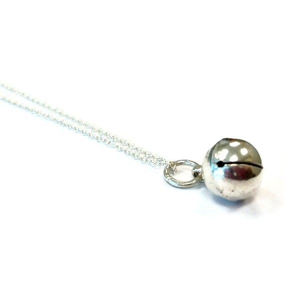 Bell Necklace Bell Pendant Bell Charm Sterling Silver Jewelry Chain Jewellery Modern Simple Everyday Jingle Holiday Everyday N-TBM