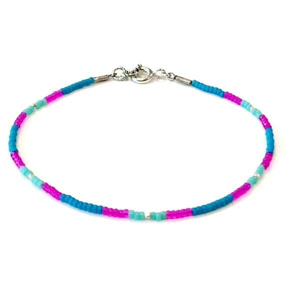 Neon Stackable Bracelet Sterling Silver Jewelry Neon Pink and Blue Bright Beaded Jewellery Layer Thin Skinny Everyday Minimal B-260