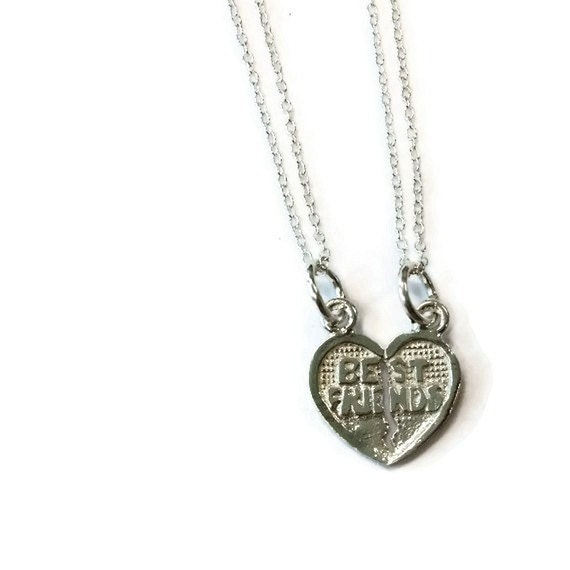 Best Friend Necklaces BFF Jewelry Sterling Silver Jewellery Friendship Gift for Best Friend Heart Charm Pendant N-291