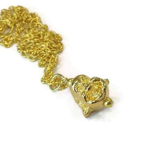 Buddha Necklace Chinese Jewelry Happy Buddha Yellow Gold Chain Jewellery Good Luck Asian Oriental  Head N-290