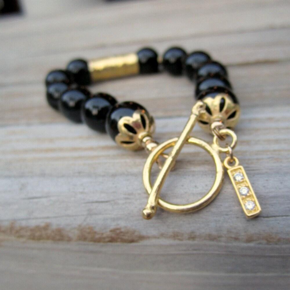 Black Onyx Gold Bracelet Gemstone Jewelry Women 7th