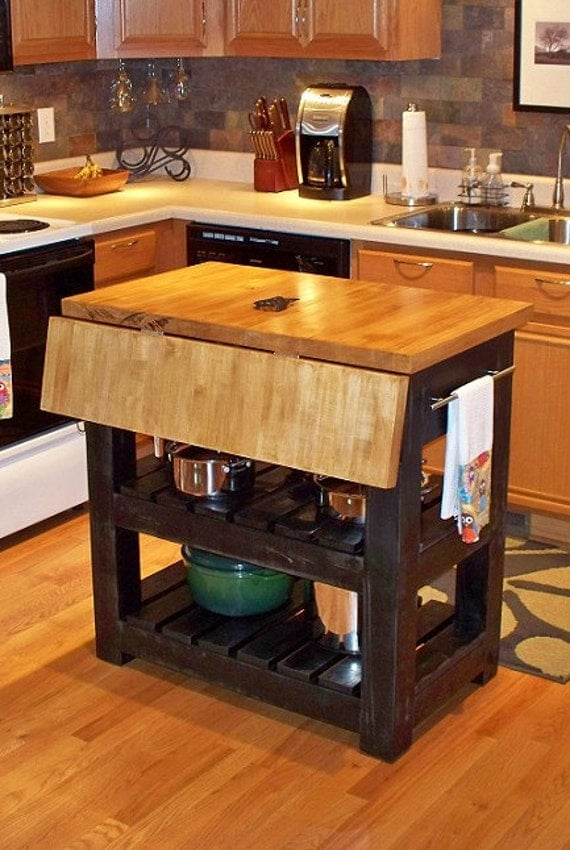 Primitive Drop Leaf Kitchen Island