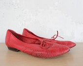 Red Leather Lace Up Shoe