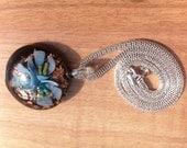 Sky Blue Flower Murano Glass Pendant Necklace