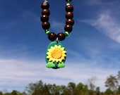 Hippie Necklace, Sunflower Necklace,Sunflower Pendant Necklace and Matching Earring Set, Polymer Clay Pendant