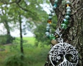 Tree of Life Pendant Necklace with Tree Agate and Swarovski Crystal, Matching Earrings