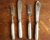 Sheffield forks and knives, Silverplated antique flatware RESERVED