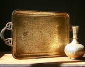 Brass tray, vintage brass serving tray