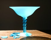 Frosted glass compote,Tiffin Satin Blue stretch glass compote, sea glass blue, vaseline glass,