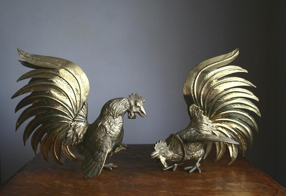 Fighting cocks, pair of vintage brass sulptures