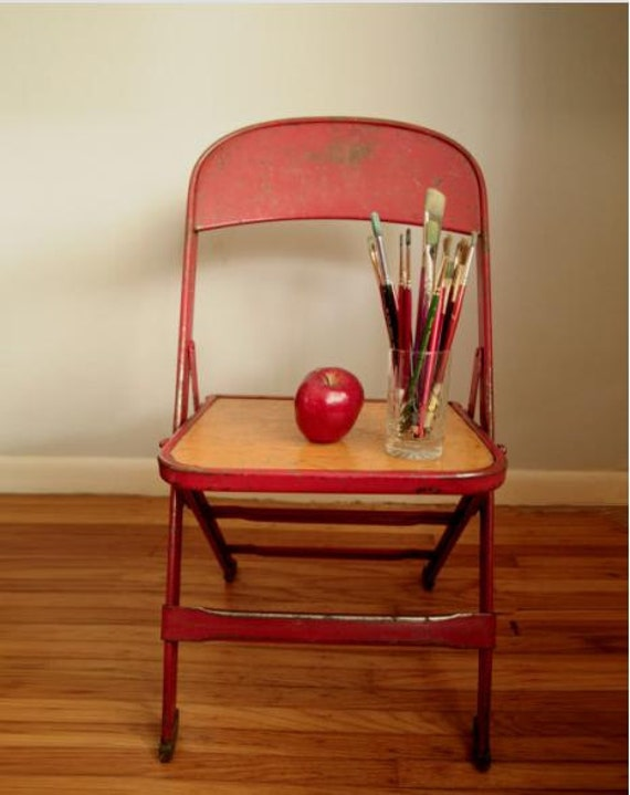 vintage school chair, red metal child's chair, folding chair. Last one.