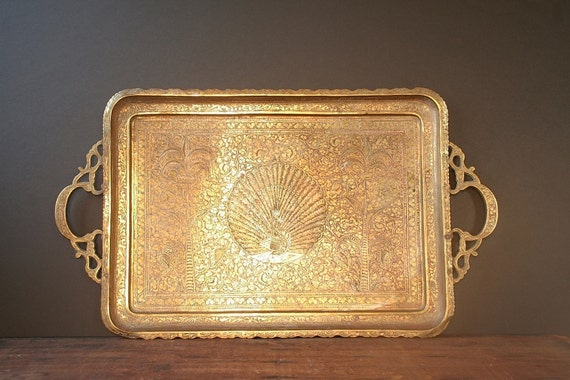 Brass Serving Tray Vintage Brass Tray Made In India