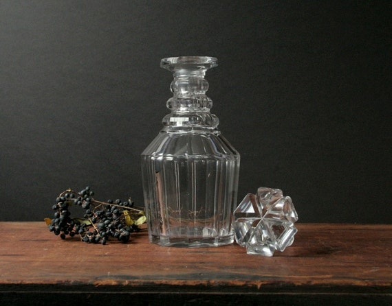 Crystal decanter, vintage glass bottle RESERVED LISTING