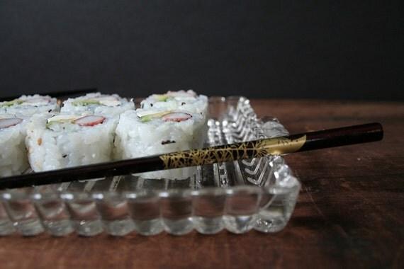Sushi trays, sushi plates, vintage glass luncheon plates