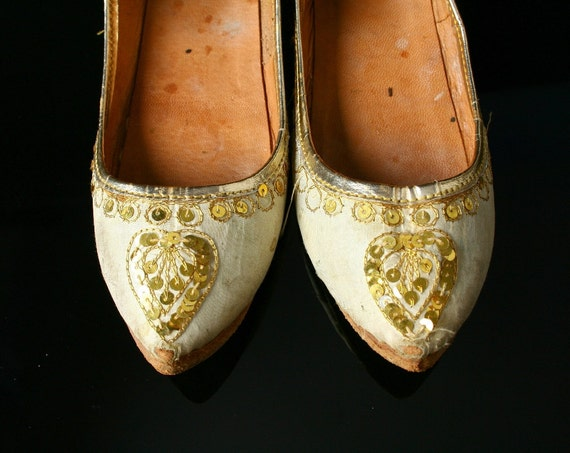 Vintage slippers, silk and sequin child's shoes
