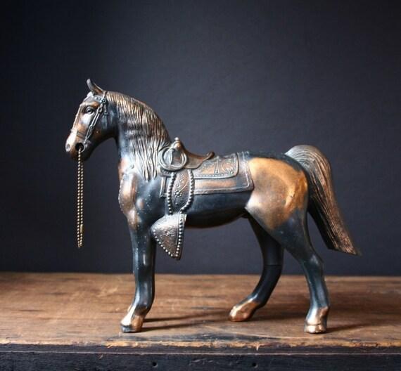 Copper carnival prize horse, vintage copper horse