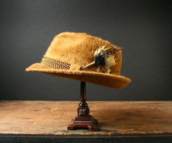 Angora felt hat, vintage fedora, size 7 1/8